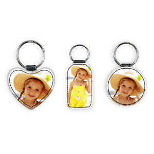 Leather Rectangular/Heart/Circular Photo Key Rings with your Own Custom Photo