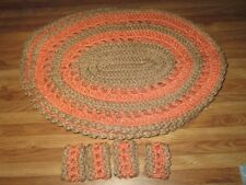 HAND CROCHET SET 0F 4 PLACEMATS AND NAPKIN RINGS BIEGE AND PEACH
