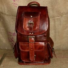 "20"" New Large Genuine Leather Backpack Rucksack Travel Bag For Men's and Women'"