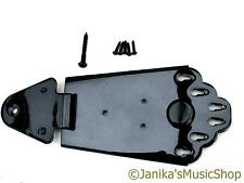 Black semi-acoustic jazz guitar tail piece tailpiece 6 string anchor hinged
