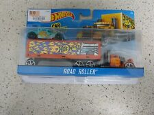 Hot wheels road roller has a tear in the packaging.