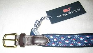 VINEYARD VINES Martha's Vineyard NWT Boys Christmas Whale D-Ring Belt Size 26