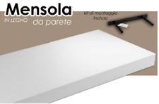 Mensola da parete in legno bianca scaffale ripiano kit montaggio incluso