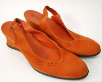 Arche Womens Shoes Size-40 uk-7 Orange Suede Slingback Wedge Used