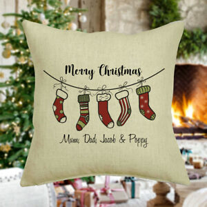 Personalised Family Christmas Cushion Cover, Stocking, Names, Mum Dad and Kids