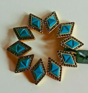 J.Crew Turquoise Color And Bling Rhinestone Stretch Bracelet