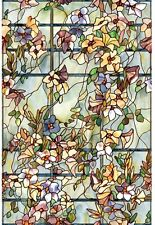 "Stained Glass Window Film 24"" x 36"" Privacy Shower Door Cling Floral Home Decor"