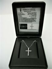 """18K White Gold 0.25ct Diamond Cross Pendant with 18"""" Box Chain Necklace"""