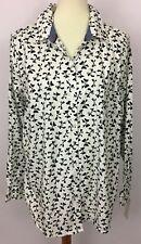 Macy's Charter Club White Black Bows Button Down Long Sleeve Shirt Size 18 New