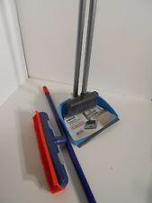 1xKehrgarnitur langer Stiel Kehrset Schaufel Kehrblech+Gummibesen blau + rot