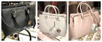 Michael Kors Womens Savannah Large Leather Satchel Handbag Bag Purse Black Beige