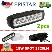 2X 18W 6inch Epistar Spot Beam LED Work Light Bar Driving Off Road FOG 4WD Truck