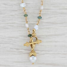 """Cultured Saltwater Baroque Pearl Green Tourmaline Bead Necklace 17"""" Chain"""