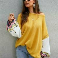 Womens Casual Tops Jumper  Pullover Loose Knitwear Sweater Long Sleeve Knitted