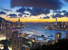 Art print poster foto Cityscape Hong Kong Kowloon SUNSET sera lfmp1156