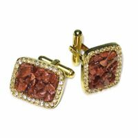 Gold-Tone CuffLinks Red Colored Stones Mens Cuff Links
