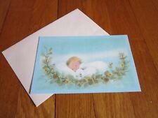 Vtg Brick Mill Studios Christmas Card Unused Baby & Lamb Sweet Blue Sleeping