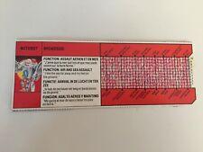 Transformers G1 1986 BROADSIDE tech spec biocard techspec
