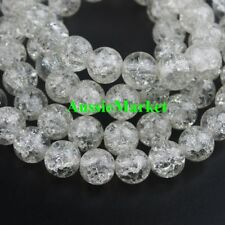 50 x Glass beads crackled crackle round clear girls jewellery jewelry making 8mm