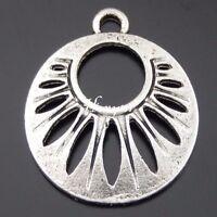 50432 Antique Silver Alloy Fan Pendant Charms Crafts Jewelry Decoration 50PCS