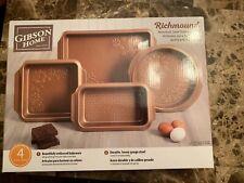 Gibson Home Richmound 4 Piece Embossed Nonstick Steel Bakeware Set NIB