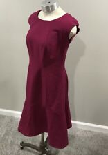 New Evan Picone Dress 6 Lined Flare Magenta Purple