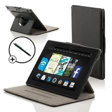 In Pelle Nera Smart Custodia Girevole Cover per Amazon Fire HD 6 Tablet + Stilo