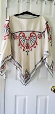 Stunning Vintage Boho Hand Embroidered Off White Linen Poncho Top Euc