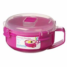 Sistema Pink Klip It Microwave Porridge to Go 850ml Breakfast Lunch Oatmeal Stew
