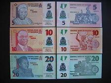 NIGERIA  5 + 10 + 20 Naira 2015  POLYMER  (P38 + P39+ P34)  UNC