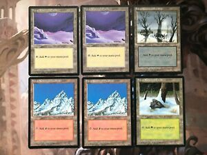 MTG Ice Age Snow Covered Land Card Bundle - Plains Swamp Mountain Forest