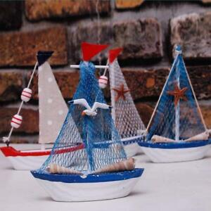 Wooden Nautical Home Sailboat Decoration Sailing Ship Tabletop Decor Set of 4