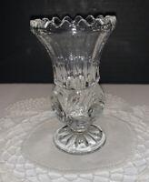 "Vintage Cut Glass Footed Violet Vase 4.5"" Thumbprint Etched Floral Sawtooth Rim"