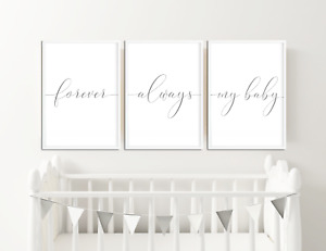 Grey Nursery Prints / Pictures, Wall Art Baby Bedroom Decor, Boys Girls Set of 3