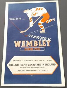 1946 Empire Pool Wembley Ice Hockey Programme English v Canadians in England