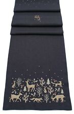 Woodland Way Embroidered Christmas Table Linen and Soft Furnishings