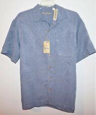 Roundtree Yorke Caribbean Camp Shirt Gray Tall 3XT Short Sleeve NWT (RYC233)