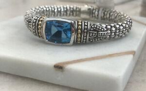 "NWT $1350 Lagos London Blue Topaz Caviar Bracelet Sterling Silver 18K Gold 6.5"""