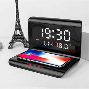 Qi 10W Wireless Charger for Android Samsung Apple iPhone with Smart Alarm Clock