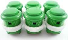 6 x 28mm Round Convex Curved Arcade Push Buttons & Microswitches (Green) - MAME