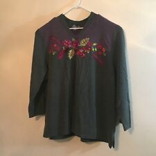 liz & me womens sweater plus size 3X gray and purple embroidery floral V5