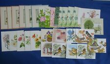 Vintage Greeting Note Cards Lot-30 With Envelopes Blank Inside Flowers Birds