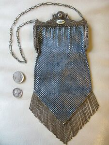 Antique Art Nouveau Silver Guilloche Floral Frame Blue Enamel Chain Mail Purse