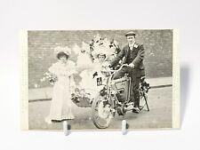More details for 1905 lyons durham rex motorbike wedding lifeboat procession  advert postcard