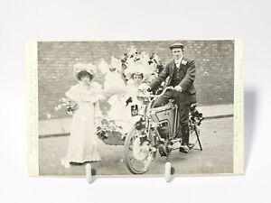 1905 LYONS Durham Rex Motorbike Wedding Lifeboat Procession  Advert Postcard