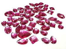 50 CERISE PINK Faceted Acrylic Sew On, Stick on DIAMANTE Crystal Rhinestone GEMS