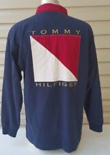 TOMMY HILFIGER VTG Big Flag Logo Long Sleeve Polo Rugby Shirt Men XL Color Block