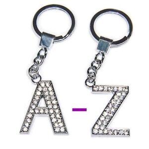 Diamante Bling Clear Crystal Alphabet Letter Key Ring Key Chain Gift Idea
