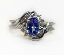 14K Solid White Gold 0.81 TCW Diamond & Oval Tanzanite Womens Cocktail Ring