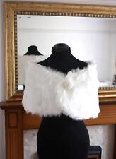 UK Seller Ivory Faux Fur Wrap Shrug Bolero Coat Bridal Shawl MY02 Size 6-12